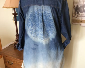 Bleach Dipped and Desgined Denim Pocket Dress XXL, Distressed Denim Dress, Plus Size Denim Dress, Bleach Dyed and Distressed