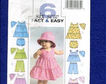 Butterick 5017 Sweet Baby Girl Sun Dresses Tops & Hats Pattern Size Newborn to Large UNCUT