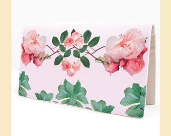 wedding clutch bag with pink rose sprigs digital print, handmade bridal purse with optional personalisation