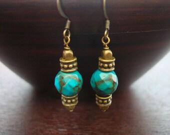 Women's Tibetan Turquoise Earrings // Genuine Faceted Tibetan Turquoise & Antique Brass Earrings // Yoga, Buddhist, Women, Jewelry, Earrings