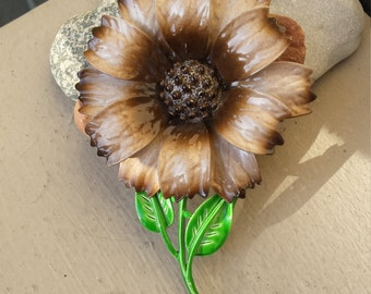 HEDY 60s 70s Big Groovy Flower Brooch Pin Brown & Green Enamel, 60s 70s HEDY Big Hippie Flower Brooch Pin Wedding Bride Bridal, HEDY Jewelry