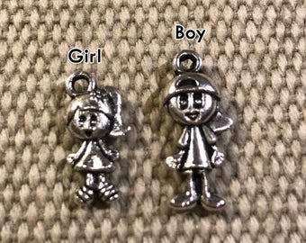 Add a Child Charm - BOY or GIRL to a Key Chain or Necklace from the shop Pixelilicious