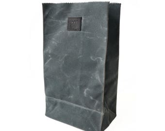 LUNCH BAG in Slate / Grey | Waxed Canvas Lunch Bag | Paper Bag Lunch Bag