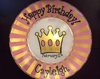 Princess Birthday Cake Plate - Personalized Happy Birthday Plate - Hand Painted Plate - Special Occasion Plate - Personalized Kids Plate