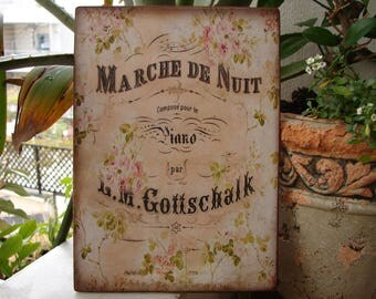 French sign, Marche de Nuit,shabby roses image sealed onto salvaged wood with hook to hang