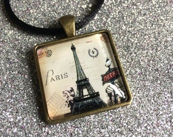 Antique Gold Colour Glass Tile Eiffel Tower and Paris Metro Square Pendant Necklace- approx 26mm Square-Gifts For Her-Ladies Jewellery
