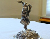 Rare 1950's Alice In Wonderland White Rabbit Silver Plated Paperweight By Reed And Barton 3 1/8  Inches Tall Disney