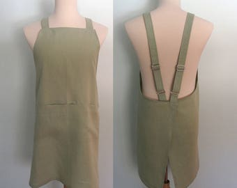 Japanese Apron in Moss Green Linen, Men's Linen Apron, Crossback Apron, Adjustable, Gift for the Gourmand, Chef Gift, No Tie Apron, Willow