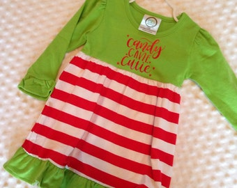 Candy Cane Cutie Red Dress - Baby Girl or Toddler Girl Dress - Red and Green Christmas Dress