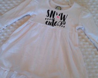Snow Cute White with Black Glitter Dress - Baby Girl or Toddler Girl Dress - Winter or Christmas Dress