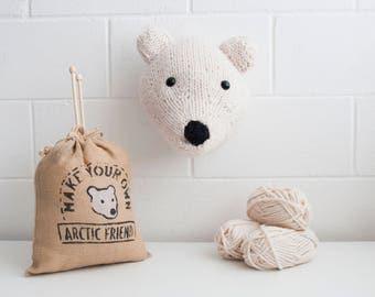 Faux Polar Bear Knitting Kit - Make Your Own Arctic Friend - Taxidermy Trophy Head Pattern
