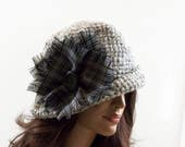 Crochet Cloche Hat with Button - Gray, Size M/L
