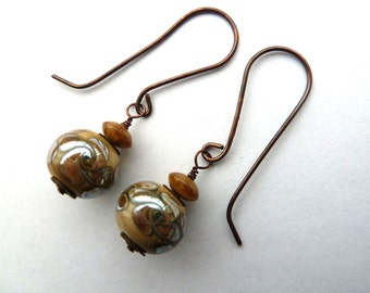 Handmade lampwork and copper earrings, UK jewellery