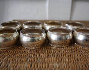 silver napkin rings, set of eight, holiday entertaining, vintage napkin rings, hostess gift