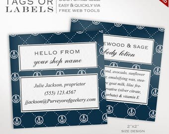 Label Template - Nautical 2 Inch Printable Label Templates - DIY Stickers Printable Product Labels HangTags Avery Silhouette LB2S AAC