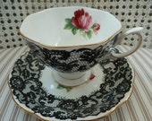 Reserved for Mark-Tea Cup & Saucer Set - Rare Royal Albert Senorita - English Bone China - Black and White Lace Cup and Saucer - Collectable