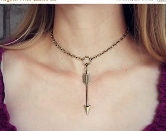 SUMMER SALE arrow choker, tribal choker, arrow necklace, short necklace, hippie necklace, 90s fashion