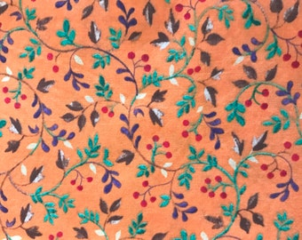 1 Yard 100% Cotton Orange/Floral Print Fabric