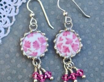 Earrings, Broken China Jewelry, Broken China Earrings, Pink Chintz, Sterling Silver Ear Wires, Dangle Earrings, Soldered Jewelry