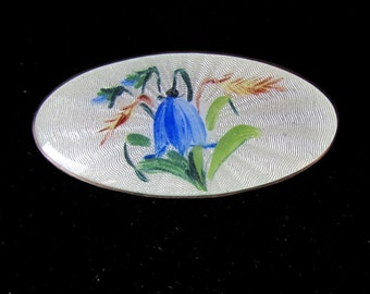 Guilloche Enamel Bluebell Pin Brooch Sterling Silver Made by Opro, Norway