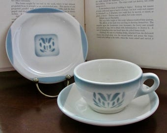Cup & Saucer and Dessert Plate Cadet Pattern Vintage American Restaurant Ware by Syracuse China 1960s