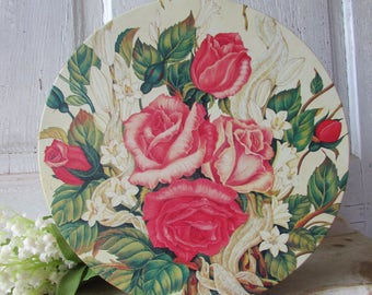 Tin CAN large round shabby romantic roses vintage