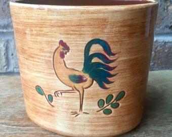 Pennsbury Pottery Rooster Vase Primitive Rustic Folk Art 1960's