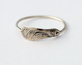 Dainty samara ring sterling silver botanical ring made to order maple key ring