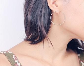 ON SALE Geo circle - large open circle earrings