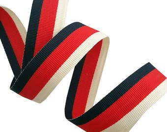 White Red Blue Gucci Style Trim Ribbon, Double Face Trim, Grosgrain Trim