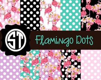 Flamingo Dot Patterns Vinyl (Indoor, Outdoor,  Glitter vinyl , HTV iron on, Glitter HTV) Lamination available Mask not included