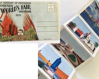 1933 Chicago World's Fair Century of Progress Art Deco Souvenir mailer / folding postcard with photographs
