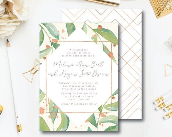 Featured listing image: Rose Leaf Wedding Printed Design Suite | Wedding Invitation & additional pieces | Printed by Darby Cards Collective