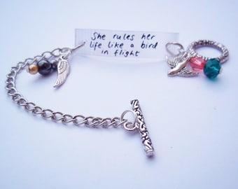 She rules her life like a bird in flight bracelet