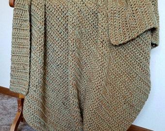 Warm Brown and Mint Green Fleck Afghan Blanket