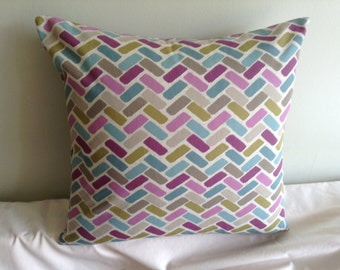 "16"" modern purple, blue, green, chevron cushion cover, pillow, pillow case, scatter cushion. Pillow sham"