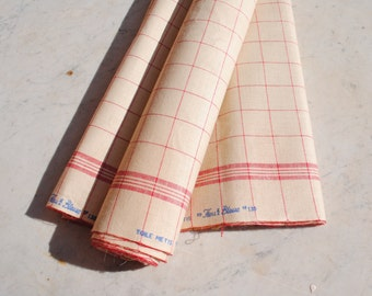 Vintage French rustic homespun linen métis torchon fabric - red stripes - for making kitchen hand towels : over 5 yards by 23 1/2 inches