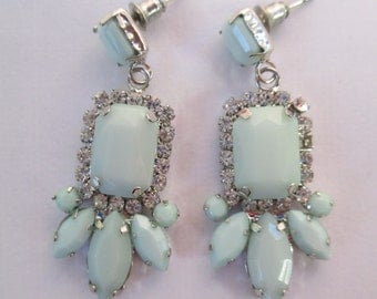 Vintage silver toned aqua center dangling with crystals peirced earrings used no markings