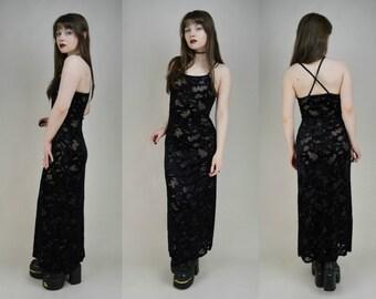 90s Black Velvet Burnout See Through Bodycon Maxi Dress XS / S