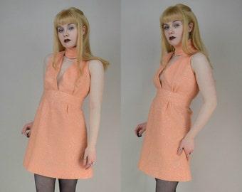60s Peach Silver Turtleneck Sleeveless Mini Dress XS / S