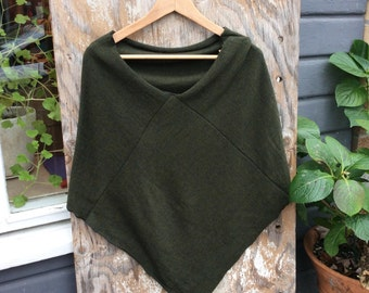 Shawl in natural green, merino wool shawl, Cape/ Poncho, gift for her, stole/ wrap made from recycled wool