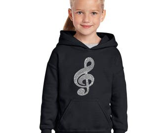 Girl's Hooded Sweatshirt - Created Using a List of the Most Popular Classical Music Composers of All Time Music Note