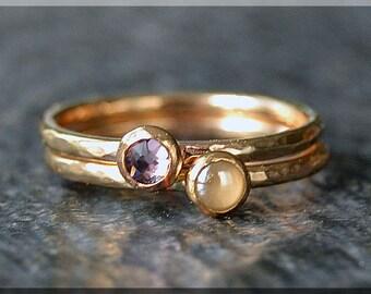 Set of 2 14k Gold Filled Birthstone Stacking Rings, Swarovski Gem Ring, Mother's Ring Stack, Swarovski Stacking Ring, Mother's Gift