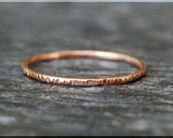 14k Rose Gold Filled Twig Ring, Bark Texture Ring, 14k Rose Gold Filled Stacking Ring, Rose Gold Thin Ring, Woodland Ring, Gold Filled Ring