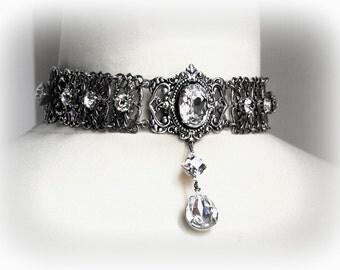 Swarovski  Crystal Choker Silver Victorian Choker Gothic Necklace Choker Bridal Necklace Gothic Victorian Jewelry Wedding Jewelry