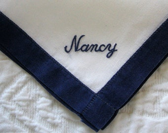 Vintage Nancy Handkerchief Nancy Embroidered in Navy Blue on a White Cotton Background Women's Purse Accessory from the Fabulous 1950's