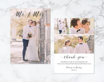 Printable Double Sided Modern Mr and Mrs Text Overlay and Collage Thank You Photo Card
