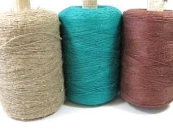 Linen Yarn, large spools, 13 to 14 ounces per spool, beige, Turquoise, brown