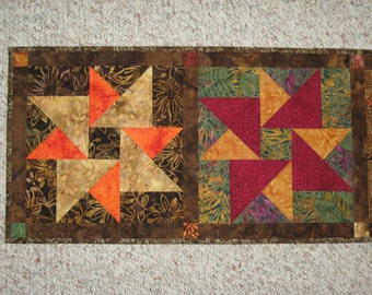 Quilted Table Runner, Autumn Fall Batik Double Star #2