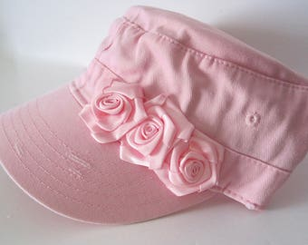 Youth Toddler Pink Distressed Cadet Military Hat with Pink Ribbon Rose Accent Baby Hats Youth Caps Girls Accessories Hats Baby Sun Hat